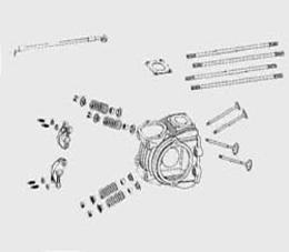 Parts to cylinder heads, cylindrar etc